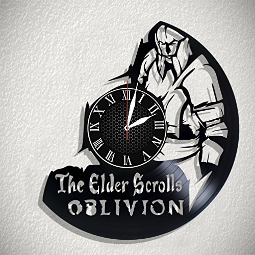 The Elder Scrolls Oblivion HANDMADE Vinyl Record Wall Clock – Perfect gifts for birthday wedding anniversary valentine's mother's father's day - Gift ideas for men and women him and her (Scroll Birthday)