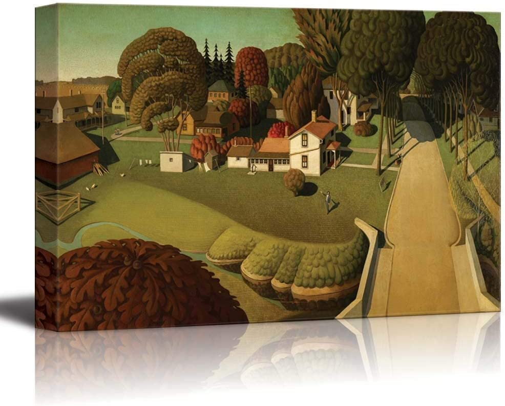 "SIMIGREE The Birthplace of Herbert Hoover, West Branch, Iowa by Grant Wood - Canvas Print Wall Art Famous Painting Reproduction - 12"" x 18"""