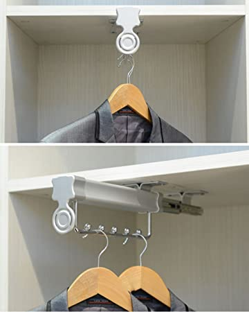 Sliding Closet Hanger Rod Rack Wardrobe Valet Extendable Rod Rail (14u0027u0027  Single Track