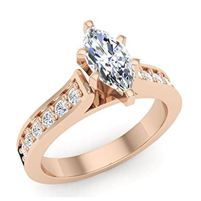 89e37bbab15d5 1.10 ct tw Natural Marquise Diamond Engagement Ring in 14K Gold (G ...