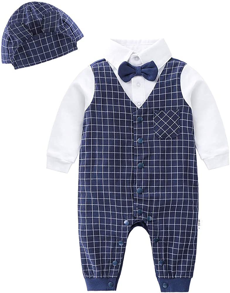 Newborn Baby Boys Gentleman Romper with Tuxedo Bow Tie ,Toddler Infant Long Sleeves Plaid Jumpsuit Outfit with Cap