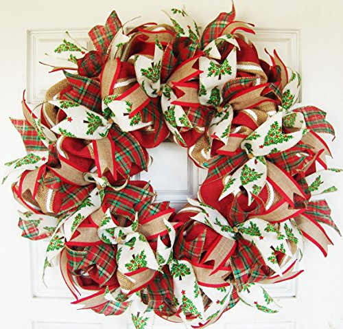 Traditional Real Burlap and Ribbon Christmas Winter Door Wreath Handmade Hand Crafted (Christmas Traditional Wreath)