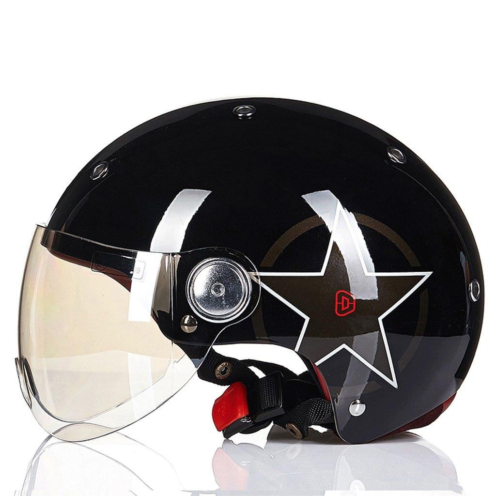 DGF ヘルメットオートバイ電気セミカバー春夏ライトウェストレトロ男性と女性スポーツアンチコリジョンヘルメットマルチカラー通気性汗 (色 : E, サイズ さいず : L l) B07FVZPGWG L l|E E L l