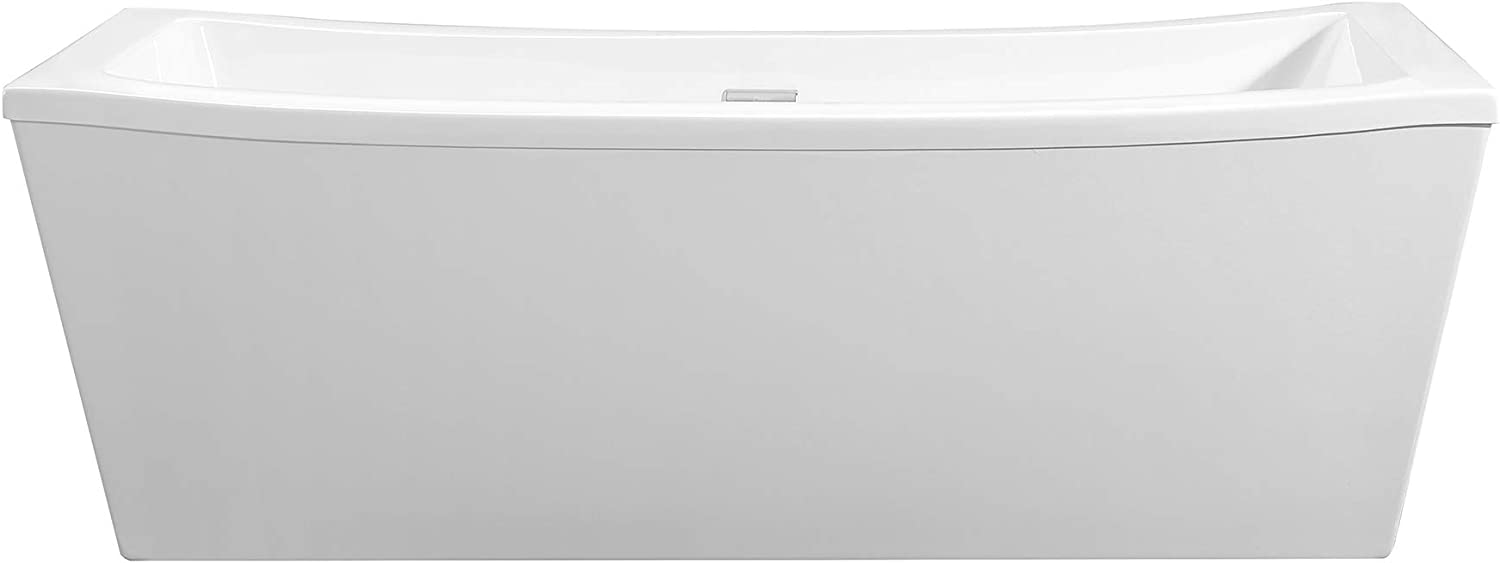 Ove Decors Freestanding Soaking Bathtub in Pure, Modern Tub with Chrome Pop Up Drain and Waste Overflow, 70 inches, Terra 70 White