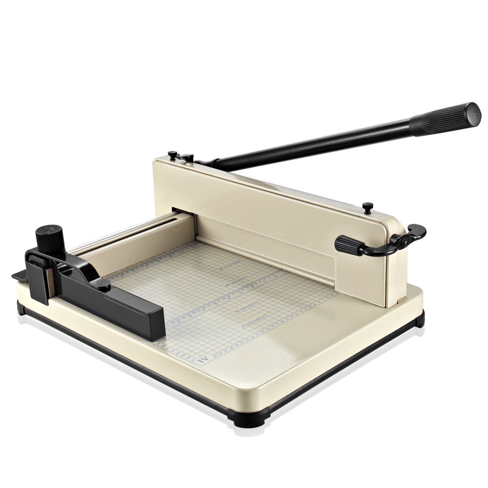 Flexzion Guillotine Paper Cutter 12'' A4 Professional Industrial Heavy Duty Scrapbooking Metal Base Trimmer Machine 400 Sheet Capacity for Office Commercial Photocopy Printing Shop