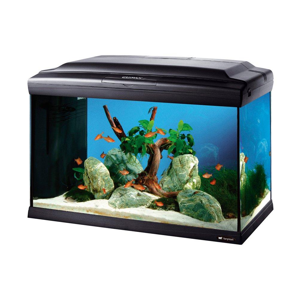 Ferplast 65061017 Aquarium CAYMAN 60 PROFESSIONAL, Maße: 62,5 x 34,5 x 45,5 cm, 75 Liter, schwarz