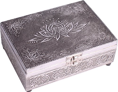 FindSomethingDifferent Embossed Silver Finish Wood Lotus Tarot Box Felt Lining
