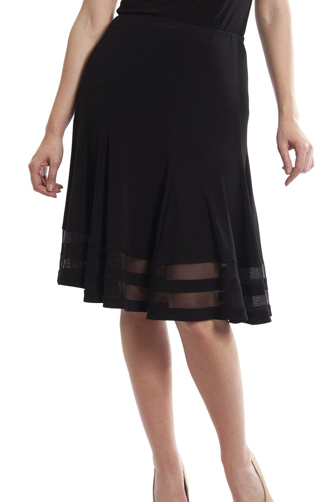 Joseph Ribkoff Black Sheer Striped Hem Knee Skirt Style 173152 - Size 12