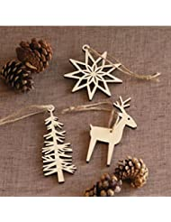 meste wooden tree snowflake elk hanging christmas ornaments with twine for festival project or wedding 3pcs