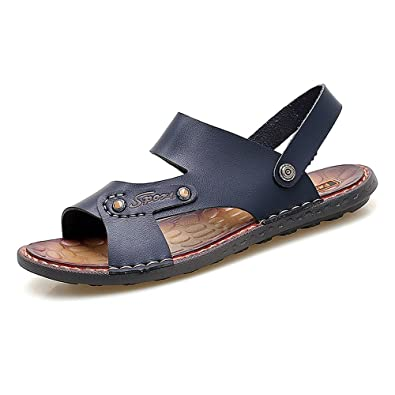 9f686e0ad CNBEAU Men s Faux Leather Beach Slippers Casual Non-Slip Soft Flat Sandals  Shoes Adjustable Backless