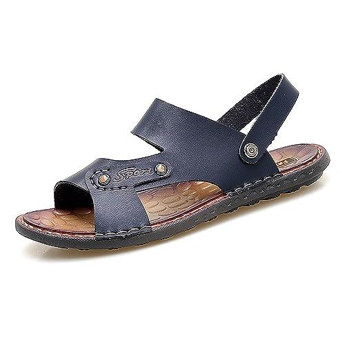 Sunny&Baby Zapatillas de Playa de Cuero de Imitación de los Hombres de la Decoración del Perno