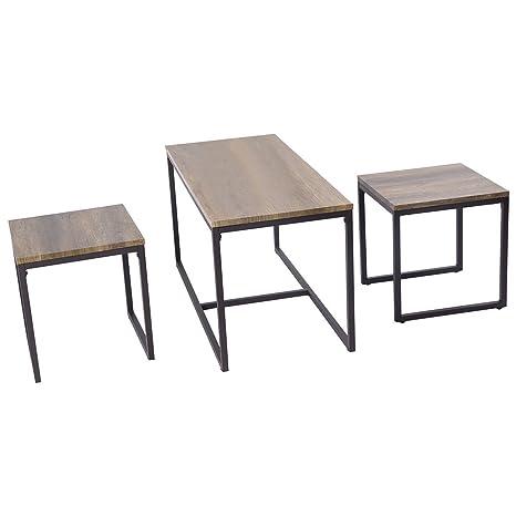 Amazon.com: casart 3 piezas Nesting juego de mesa auxiliar ...