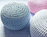 Baby Blue Nursery Foot stool Pouf Ottoman-Light Blue Nursery Decor-Furniture Crochet Floor Cushions -Kids Knit Bean Bag-Baby Shower Gifts