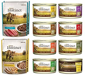 Nature's Variety Instinct 12 Pack Sampler Box - 8 Total Cans (Beef, Duck, Lamb,Chicken, Salmon, Rabbit, Venison, & Chicken Formula Ultimate Protein) - 4 Pouches (Tuna and Chicken) 3 Ounces Each