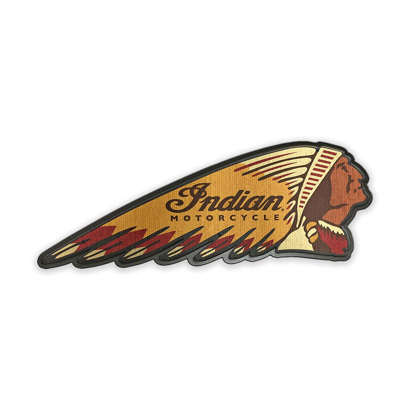 OldWoodSigns Vintage-Style in. Hardboard Decorative Sign - Indian Motorcycle Headdress Patch Sign by Meissenburg Designs