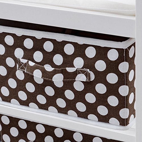Costzon Baby Changing Table, Diaper Storage Nursery Station with Hamper and 3 Baskets (White+Brown) by Costzon (Image #2)