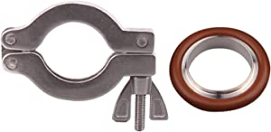 DERNORD Wing Nut Clamp Flange Quick Clamp Stainless Steel 304 with Centering O-Ring (KF-25)