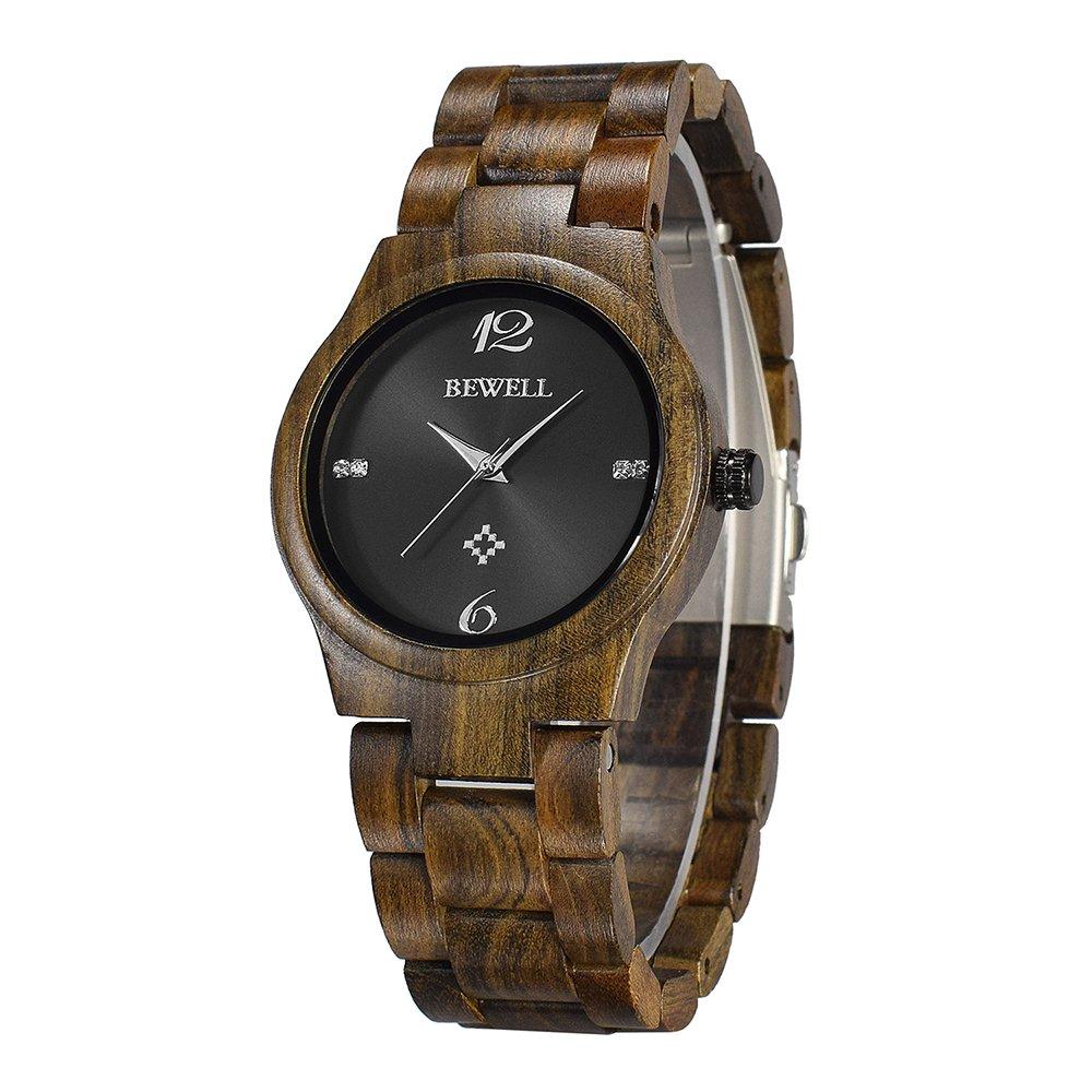 Women Wood Watch Black Round Dial Analog Quartz Light Weight Fashion Crystal Wooden Watches Bewell