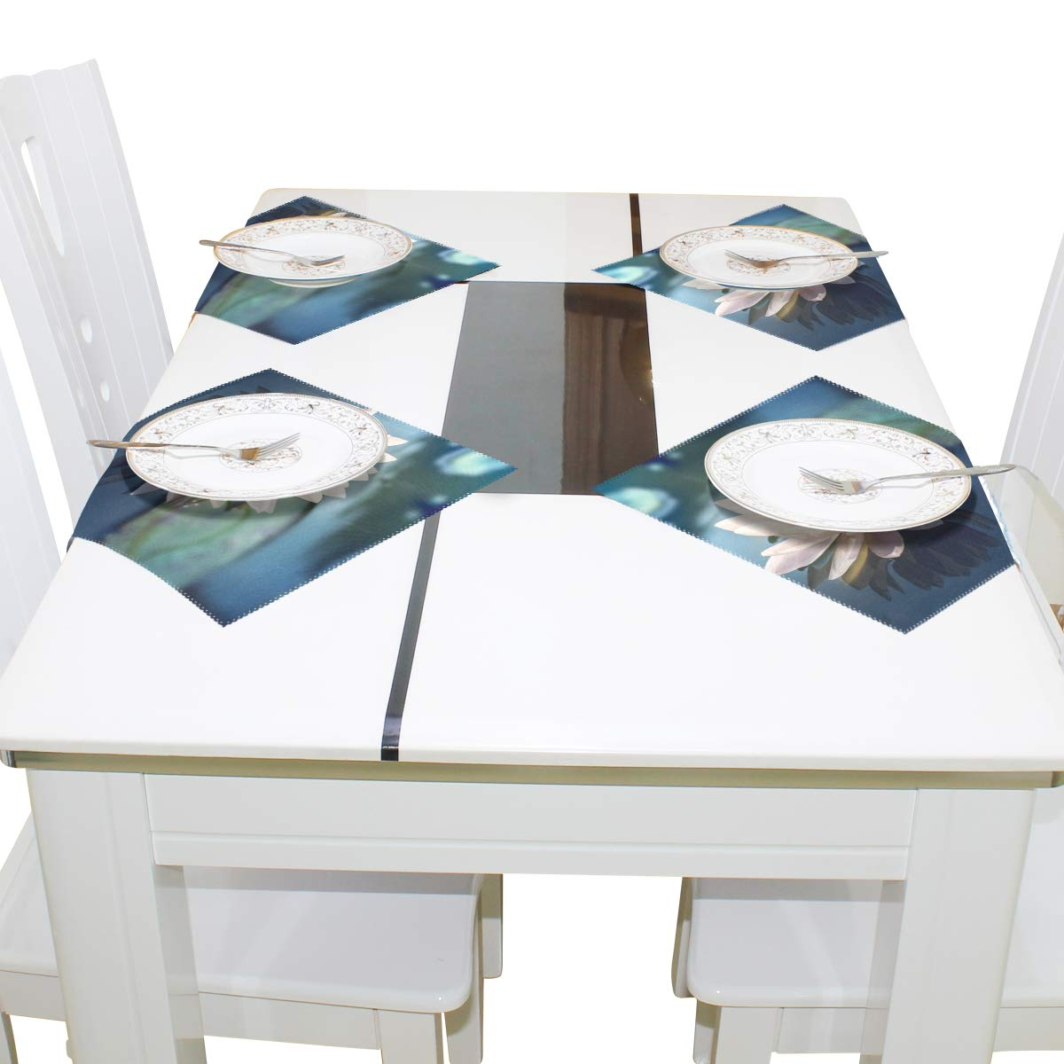 12x12x1 Sets de table Superbe Fleur de Lotus en Bassin 30,5/x 30,5/cm One Piece r/ésistant /à la chaleur antid/érapant pour table de salle /à manger in Image 106 polyester /& polyester m/élang/é