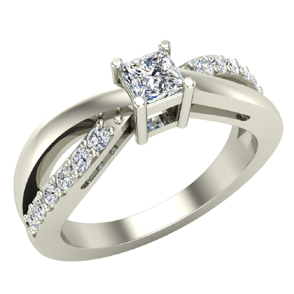 Infinity Shank Promise Diamond Ring 14k White Gold 0.50 Carat Total Weight (Ring Size 6.5)