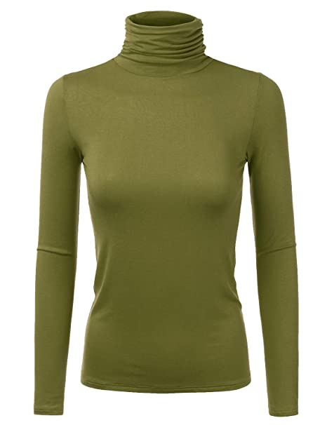 Doublju Soft Knit Turtleneck T-Shirt Top with Shirring Detail for Women  with Plus Size 9562c6e32