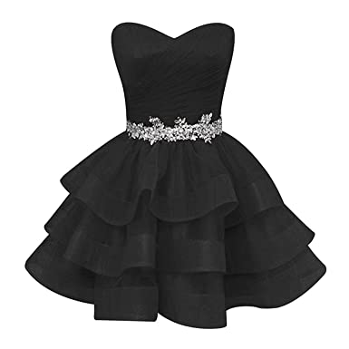 f16c935db65 Pettus Women s Sweetheart Ruffle Beads Homecoming Dresses Sequins Sash Prom  Party Gowns Short