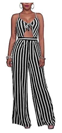 524d06c9840 SUKIYAKI Women s Sexy Spaghetti Strap Striped High Waist Wide Leg Long Pants  Palazzo Jumpsuit Rompers Ladies