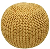 nuLOOM Knitted Round Pouf, Ming Yellow, 14'' H x 20'' W x 20'' D