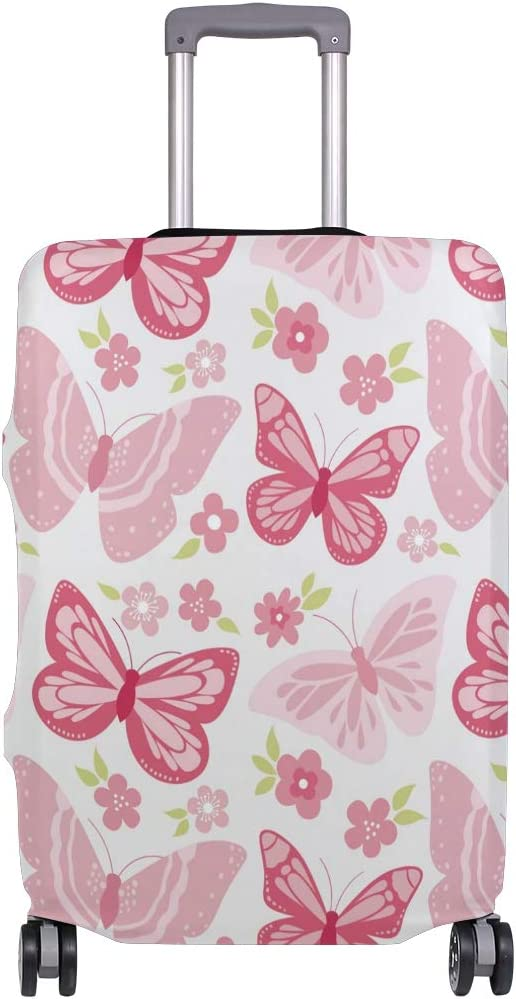 Baggage Covers Pink Flying Butterflies Floral Pattern Washable Protective Case