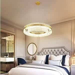 Simple and Durable European Luxury Crystal Chandelier Diameter 60cm Ceiling Lamp Villa Hotel Restaurant Living Room Warm Light Gold 2 Ring