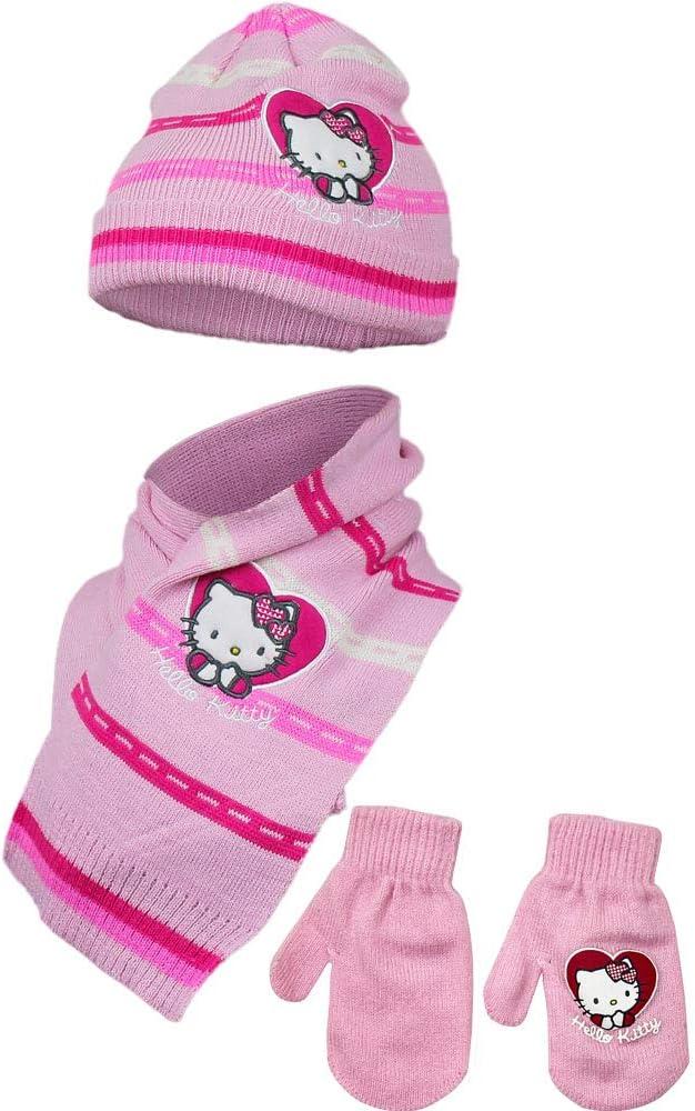 Hello Kitty Little Girls 3 Piece Cold Weather Winter Hat Gloves Scarf Set