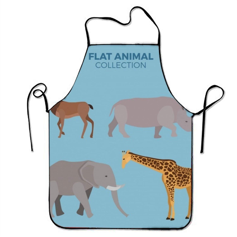 Elephant and Other Wild動物セットキッチン料理エプロン女性と男性用調節可能なネックストラップレストランホームキッチンエプロンBib for、料理BBQ   B07FTLZSP7