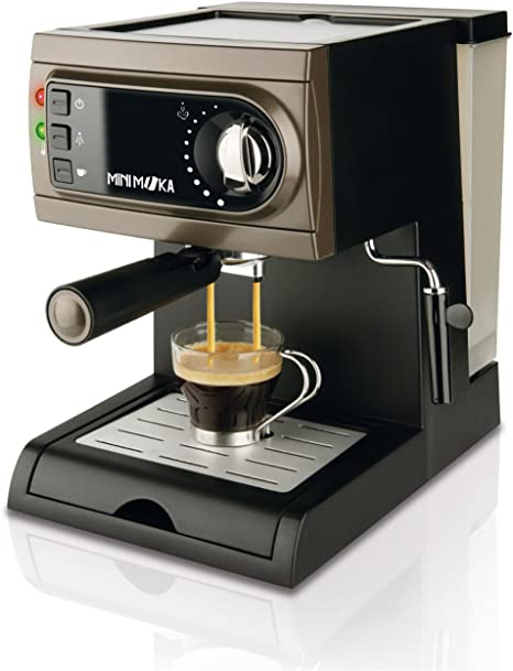 Mini Moka CM-1622 - Cafetera espresso manual, apta para monodosis, color negro/gris: Amazon.es: Hogar