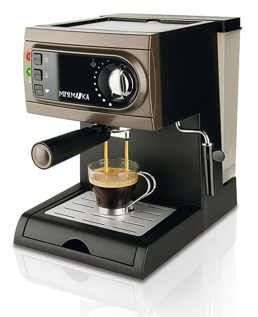 Mini Moka CM-1622 - Cafetera espresso manual, apta para monodosis, color negro/gris
