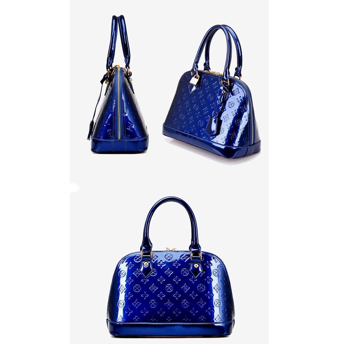 Fashion Patent Leather Handbag Glossy Shell Bag Shoulder Diagonal Bag Female Bag Retro Printing Mummy Bag Two-Piece Purple, 31 * 22 * 15cm