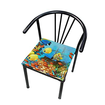 "Bardic HNTGHX Outdoor/Indoor Chair Cushion Ocean Tropical Fish Coral Square Memory Foam Seat Pads Cushion for Patio Dining, 16"" x 16"": Home & Kitchen"