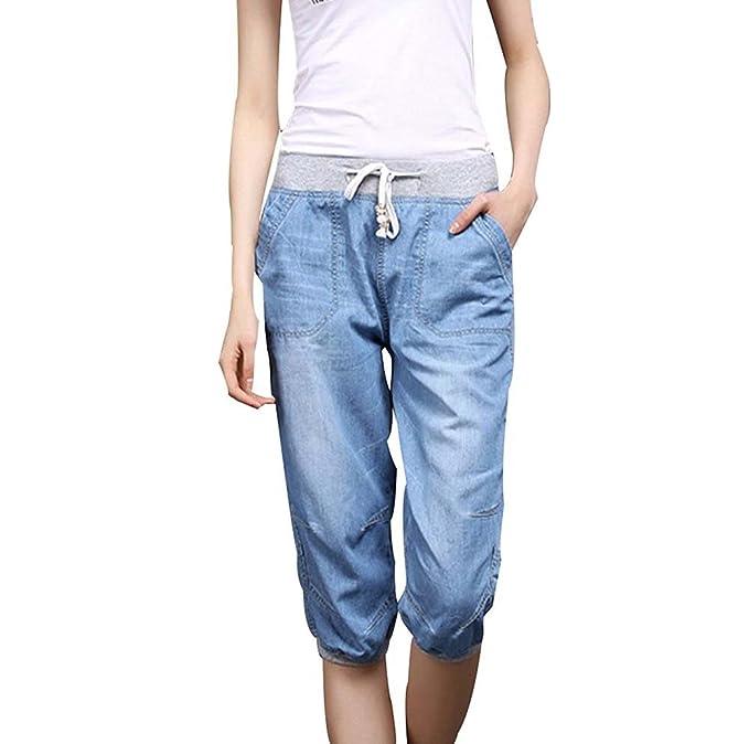 cfc6e0144f1 Oneforus 2018 Summer Thin Section New Tencel Jeans Fashion Thin Waist Pants  Female Harem Pants  Amazon.co.uk  Clothing