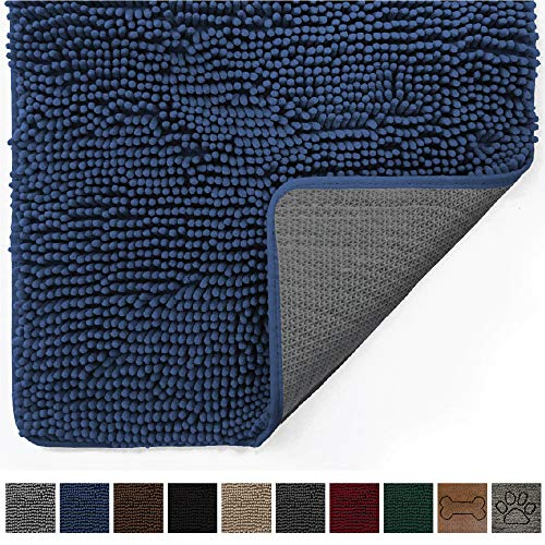 Gorilla Grip Original Indoor Durable Chenille Doormat, (30x20) Absorbent, Machine Washable Inside Mats, Low-Profile Rug Doormats for Entry, Mud Room, Back Door, High Traffic Areas (Navy Blue)