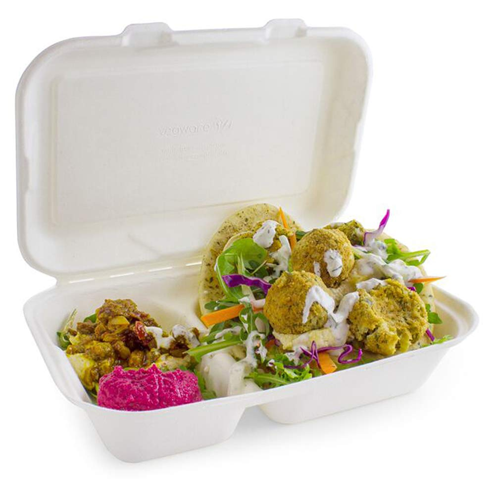 2 Compartment Clamshell Bagasse Takeaway Food Box 7 Inch - Set of 50 - Eco-Friendly Food Boxes