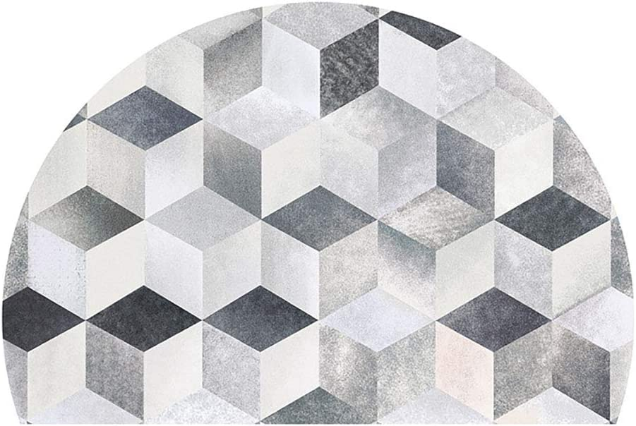 WJXBoos Mónaco Semicírculo Felpudo,súper Grande Moderno Abstracto Geométrica Antideslizante Dormitorio Entrada Entrada Cabecera Alfombra Bienvenido Alfombra C 200 * 300cm(79 * 118inch)