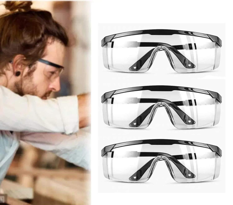 3 Par lentes de seguridad Claro Seguridad Lentes Anti niebla Gafas Protectoras para los Ojos con Marco Ajustable Antivaho Prueba de para Laboratorio Agricultura Industria