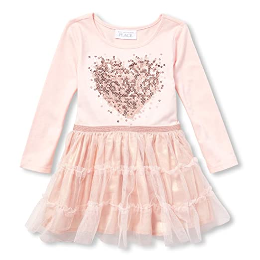 03dd5ed1 Amazon.com: The Children's Place Girls' Toddler Mesh Glitter Dress: Clothing