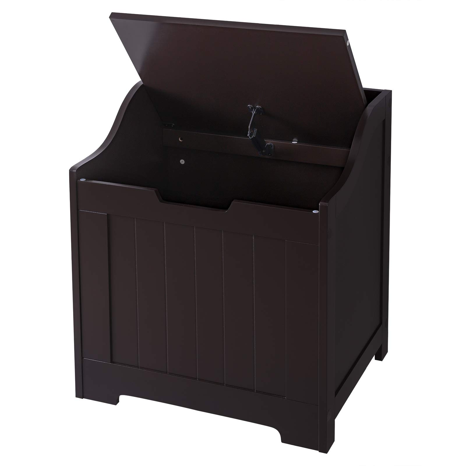SONGMICS Flip Top Storage Bench, Toy Box and Chest with Safety Hinge in the Entryway and Kids Room, Espresso, ULHS12BR