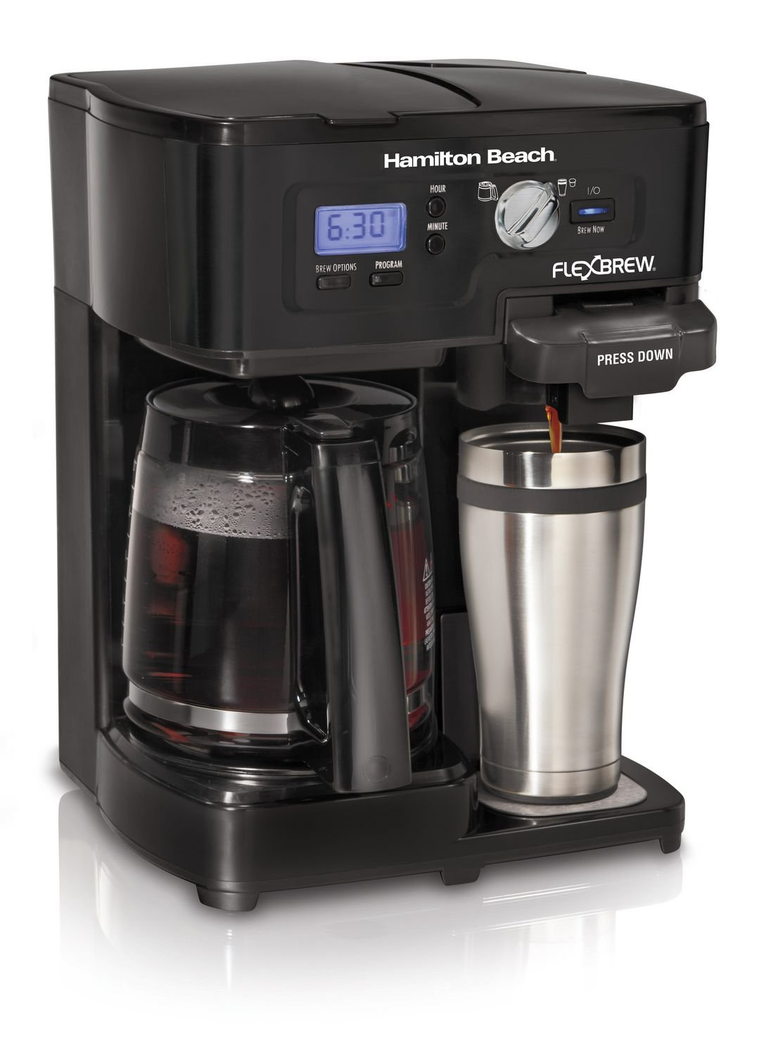 Hamilton Beach 12- Cup 2-way FlexBrew Coffee Maker Black,k-cup pack or brew, Programmable, Single Serve- 49985C