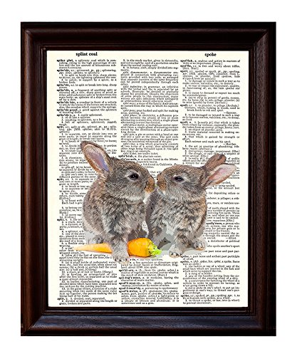 Bunny Love - Dictionary Art Print Printed On Authentic Vintage Dictionary Book Page - 8 x 10.5