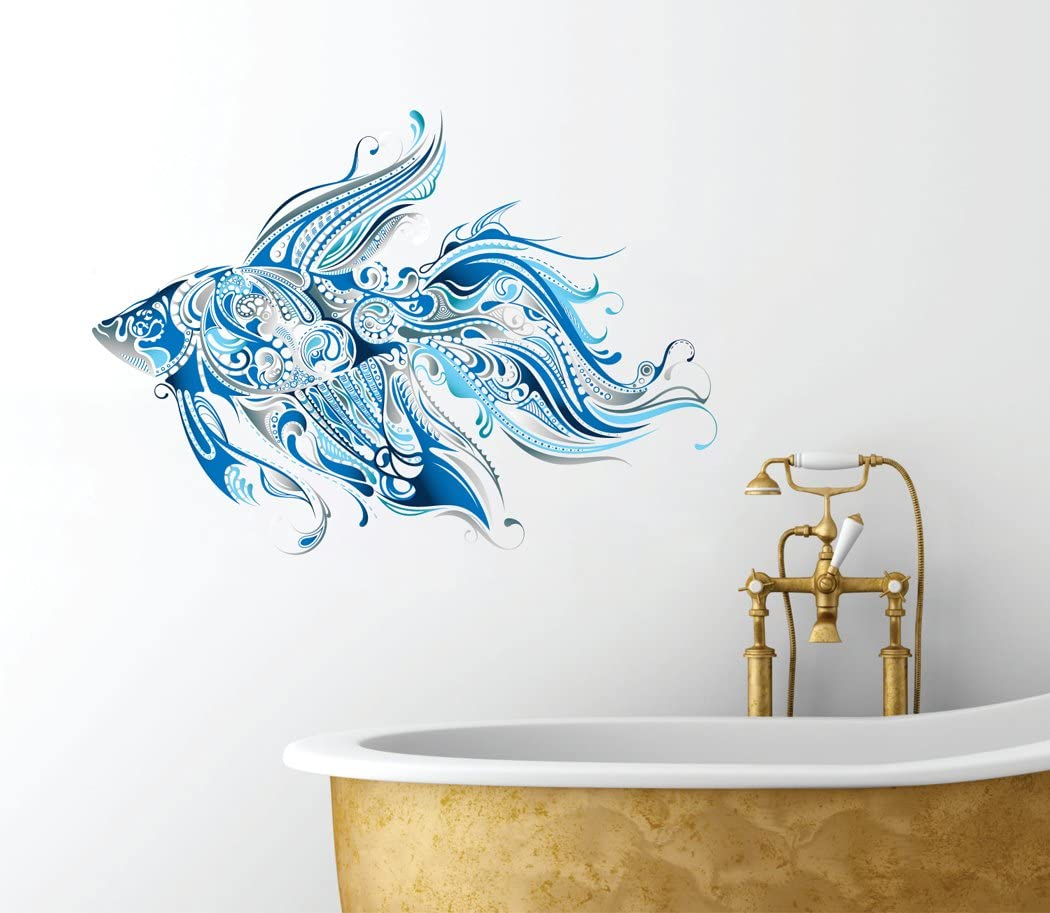 "Fancy Fish Design - Beautiful Ocean Inspired - Bathroom Wall Decal - 14"" x 8"""