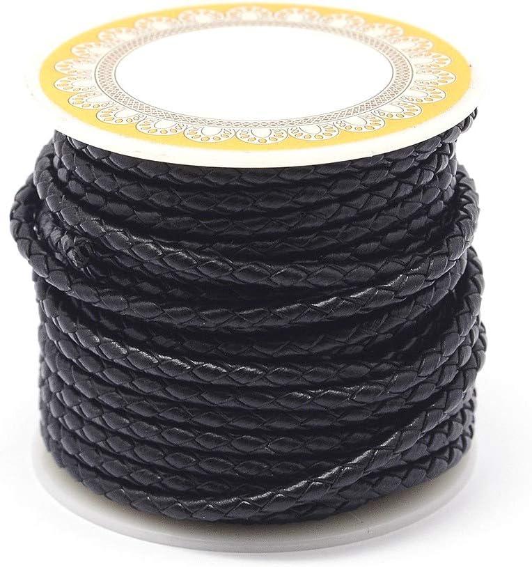 PandaHall - Cordón de cuero trenzado de 4 metros, 5 mm, color negro, redondo, para hacer joyas, para hacer pulseras, collares y joyas