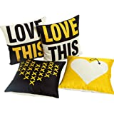 HOSL PSD03 Merry Christmas LOVE Series Cotton Linen Square Decorative Sofa Bedroom Throw Pillow Case Cushion Cover (Set of 4)