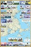 Massachusetts & Rhode Island Lighthouses Illustrated Map & Guide Laminated poster