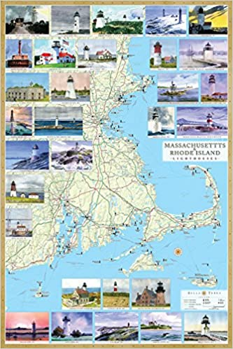 Massachusetts Rhode Island Lighthouses Illustrated Map Guide